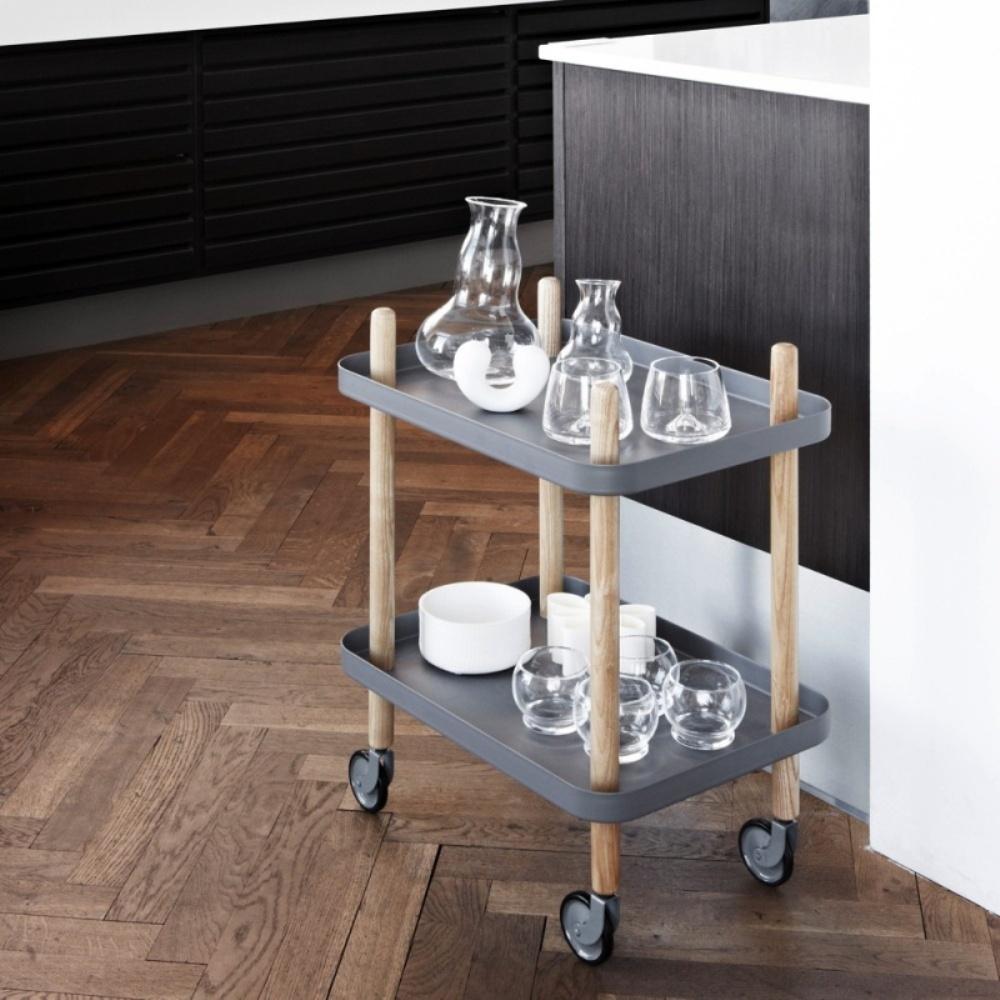 Block Side Table/Drinks Trolley   Dark Grey