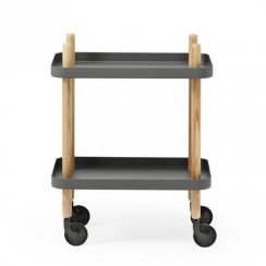 Block Side Table/Drinks Trolley - Dark Grey