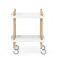 Block Side Table/Trolley - White
