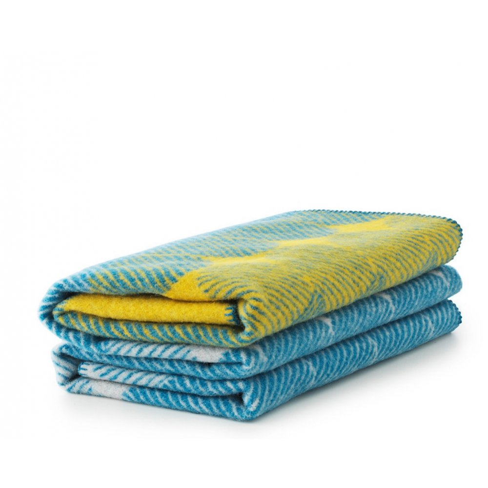 Normann Copenhagen Ekko Throw Blanket Yellow Dusty Blue