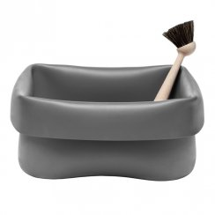 Rubber Washing Up Bowl and Brush - Grey