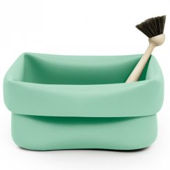 Rubber Washing Up Bowl and Brush - Mint Green