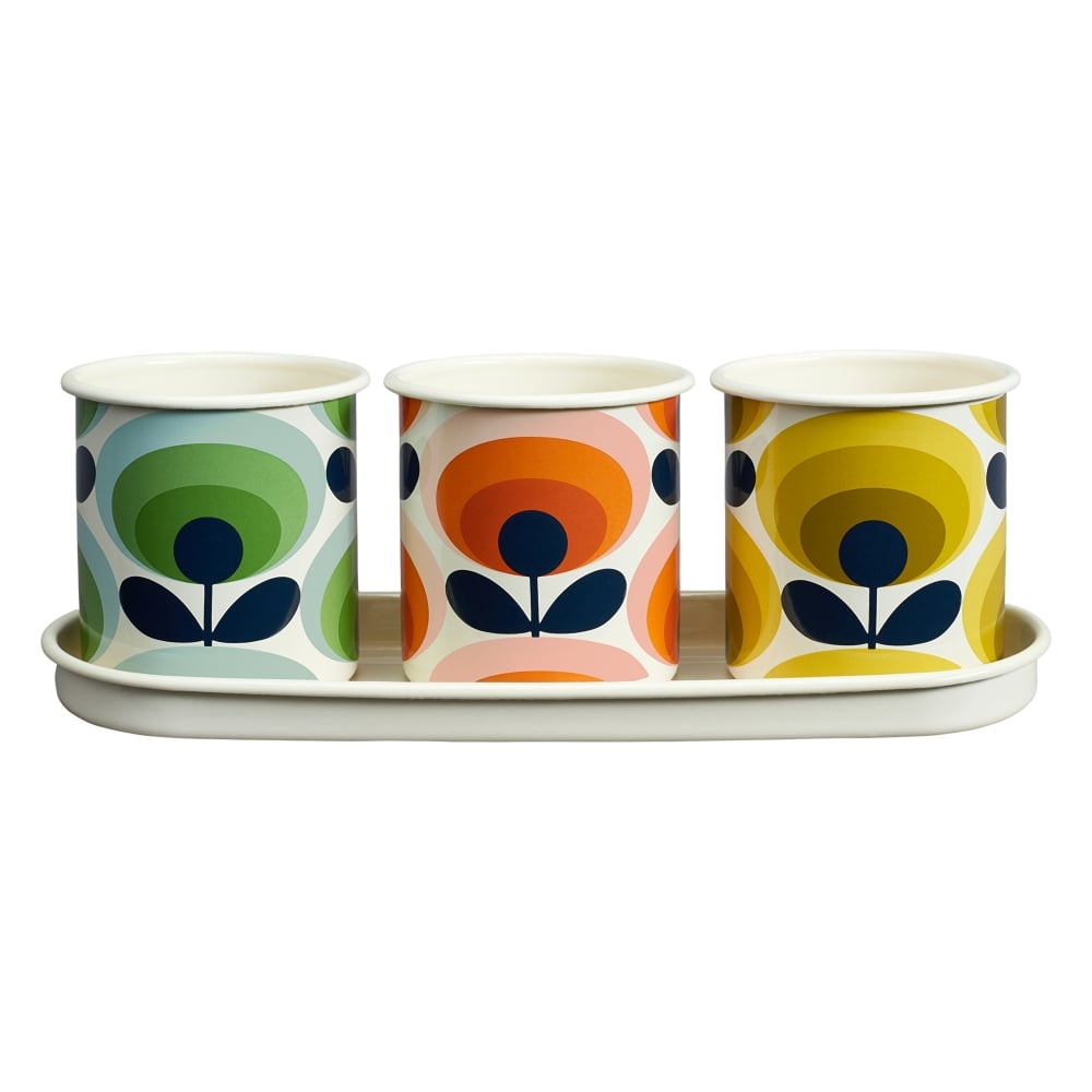 Orla Kiely Herb Pots & Tray 70s Flower Oval | Set of 3 | Black by Design