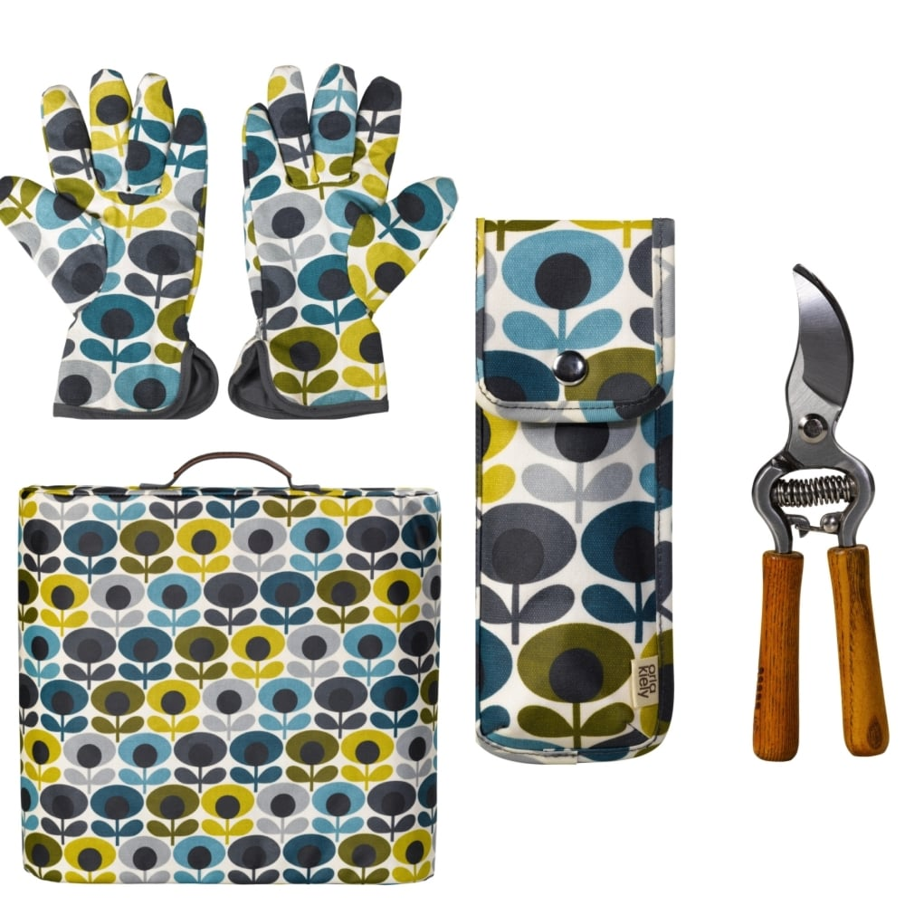 . Orla Kiely Multi Flower Oval Print Gardening Set   Kneeler Potting  Gloves Secateurs