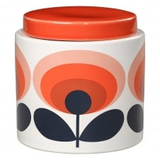 Storage Jar - 70s Flower Oval - Orange