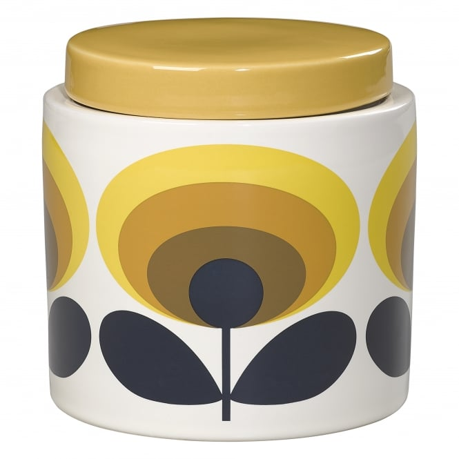 Orla Kiely Storage Jar - 70s Flower Oval - Yellow