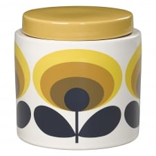 Storage Jar - 70s Flower Oval - Yellow