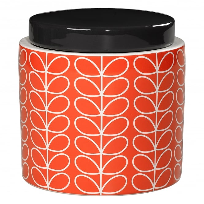 Orla Kiely Storage Jar - Linear Stem - Persimmon