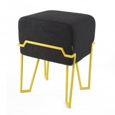 BOKK Stool - Dark Grey Felt with Yellow Frame