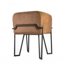 BOKK Stool - Tan Suede Leather with Black Frame
