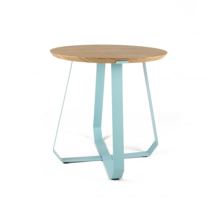 Puik Art SHUNAN Side Table - Ash Wood Veneer with Turquoise Legs