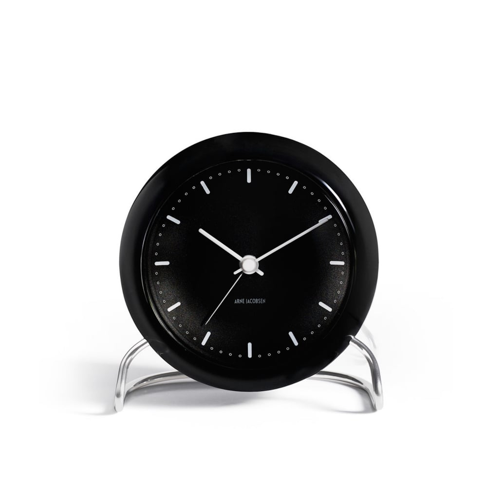 rosendahl city hall table alarm clock black black by. Black Bedroom Furniture Sets. Home Design Ideas