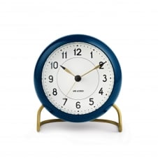 Arne Jacobsen Station Table Alarm Clock - Petrol Blue