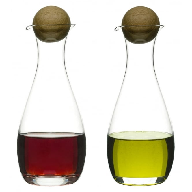 Sagaform Oil/Vinegar Bottles with Oak Stopper - Set of 2