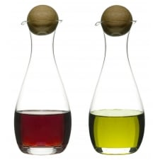 Oil/Vinegar Bottles with Oak Stopper - Set of 2