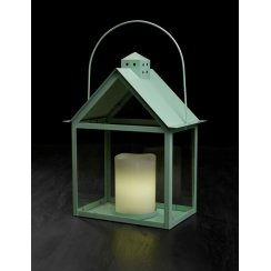 Aura Lantern with LED Wax Candle - Pistachio