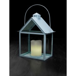 Aura Lantern with LED Wax Candle - Sky Blue
