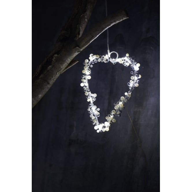 Sirius Juliet Heart LED Christmas Light - White/Silver - Small
