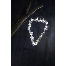 Juliet Heart LED Christmas Light - White/Silver - Small
