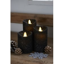 Sara LED Wax Candles - Set of 3 - Galaxy Glitter