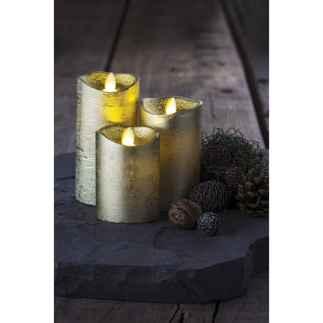 Sirius Sara LED Wax Candles - Set of 3 - Gold