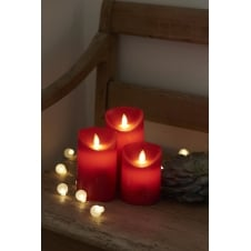 Sara LED Wax Candles - Set of 3 - Scarlet