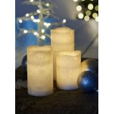 Tenna LED Real Wax Candles with Timer - Set of 3 Frosty White