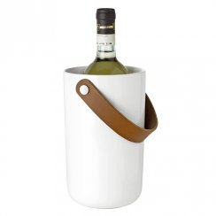Glacier Wine Cooler - White Stoneware with Leather Handle