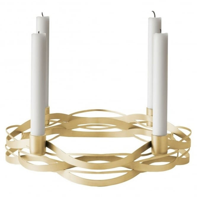 Stelton Tangle Advent Candle Holder - Brushed Brass