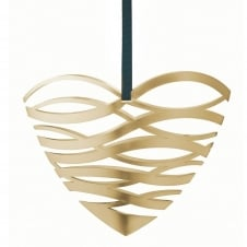Tangle Christmas Heart Door Ornament - Large Brass
