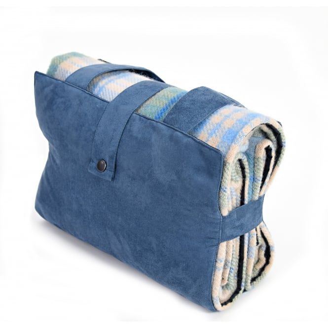 Tweedmill Ascot Pure New Wool Picnic Rug with Faux Suede Outer - Cottage Blue/Navy