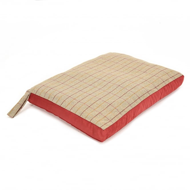 Tweedmill Dog Bed with Suede Base - Tweed 925/Red
