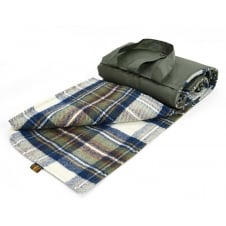Eventer Pure New Wool Picnic Blanket - Dress Stewart Tartan - Muted Blue/Olive
