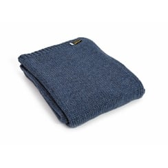 Knitted Alpaca Mix Throw - Blue Slate