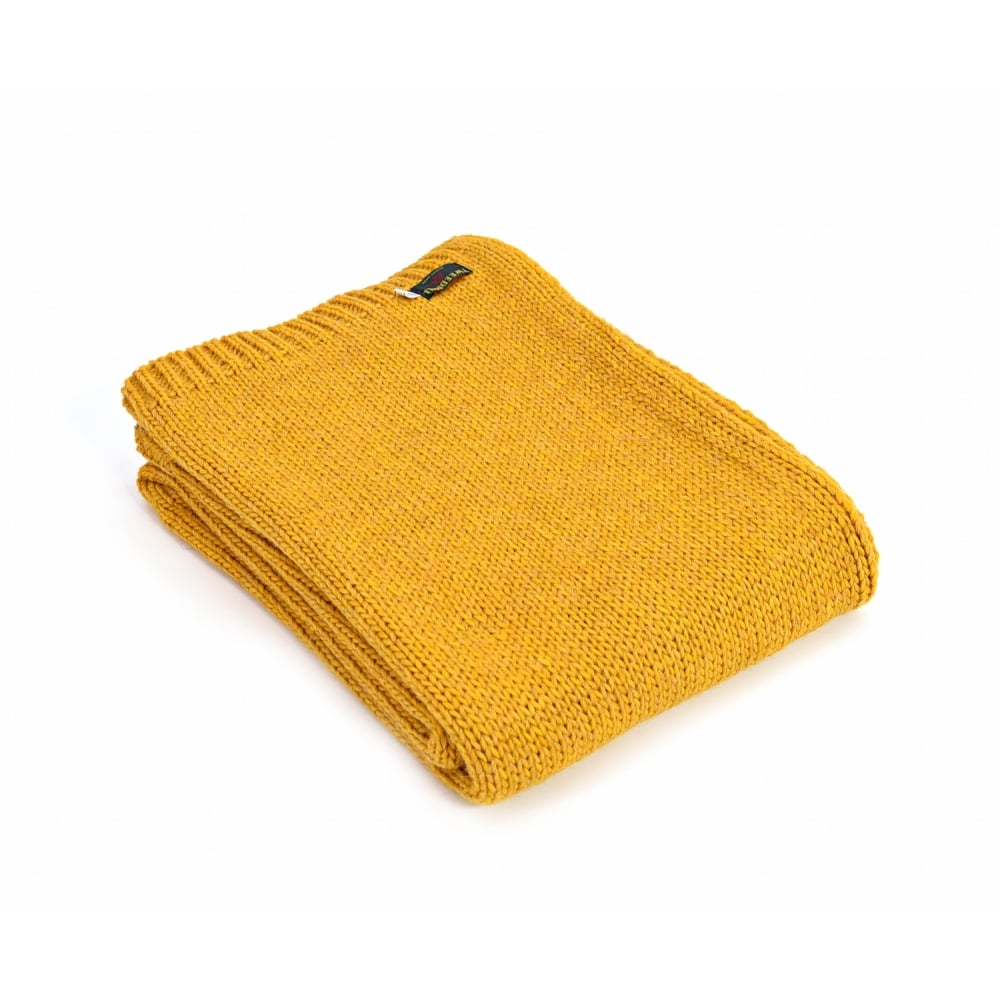 tweedmill knitted alpaca mix throw mustard black by design