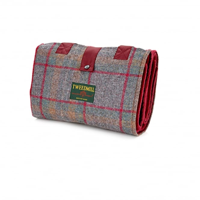 Tweedmill Leisure/Picnic Rug with Tweed Pocket & Waterproof Backing - Country Check/Wine