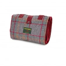 Leisure/Picnic Rug with Tweed Pocket & Waterproof Backing - Country Check/Wine