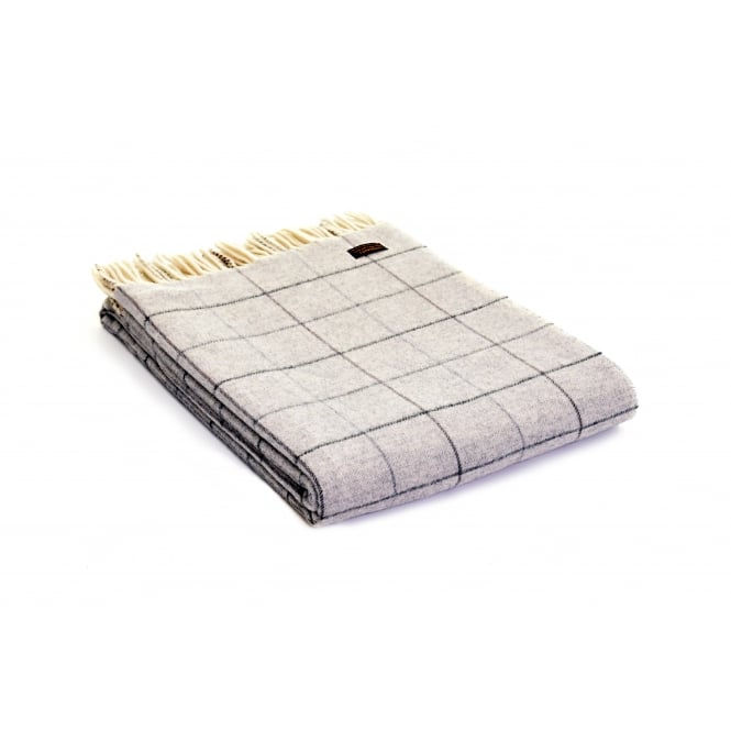 Tweedmill Merino Check Throw - Grey