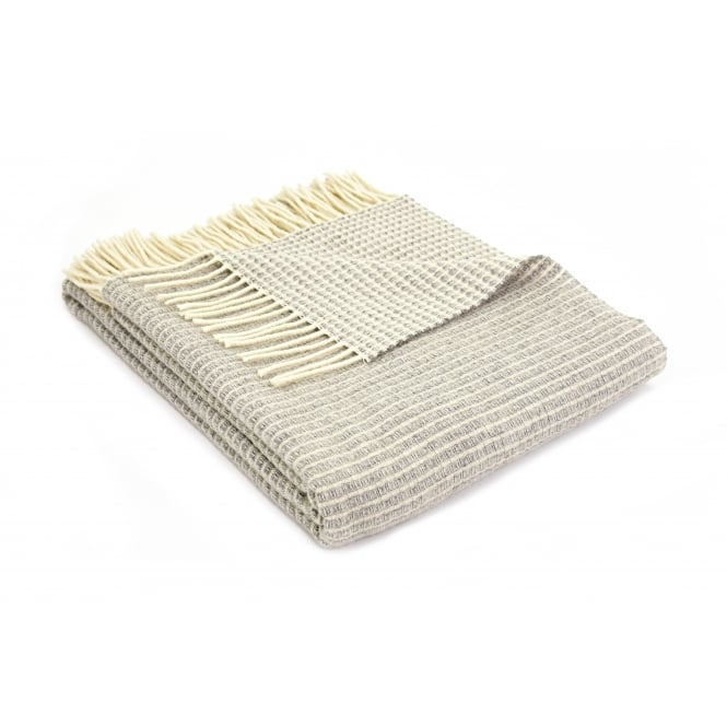 Tweedmill Merino Reversible Lattice Weave Throw - Grey