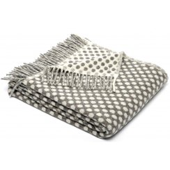 Natural Lambswool Reversible Spot Throw - Grey