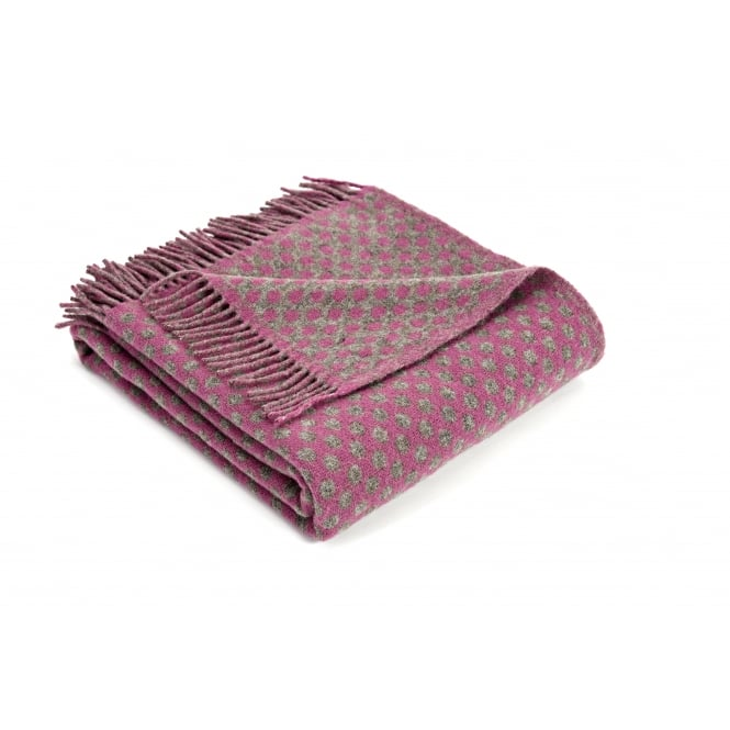Tweedmill Natural Lambswool Reversible Spot Throw - Mulberry