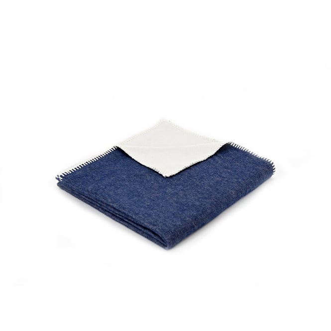 Tweedmill Organic Cotton Reversible Throw - Plain Navy