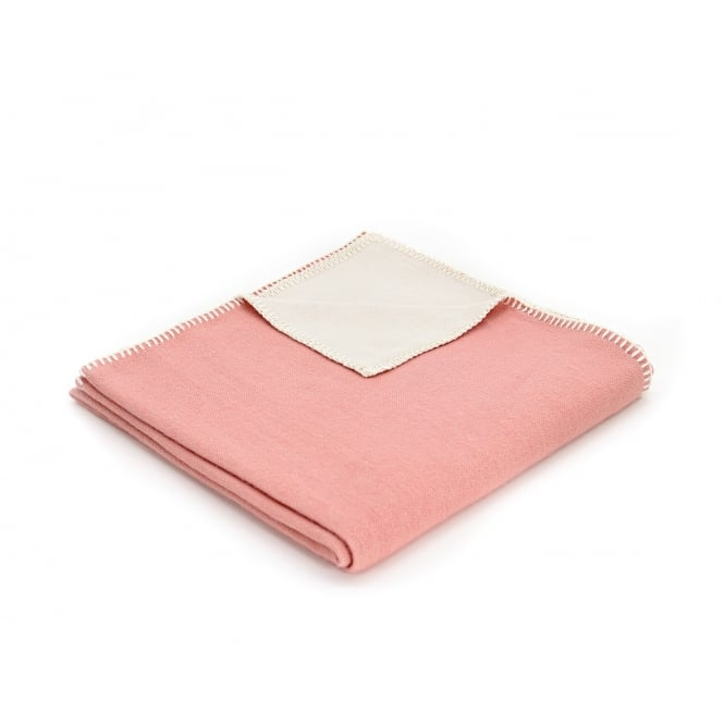 Tweedmill Organic Cotton Reversible Throw - Plain Rose Pink
