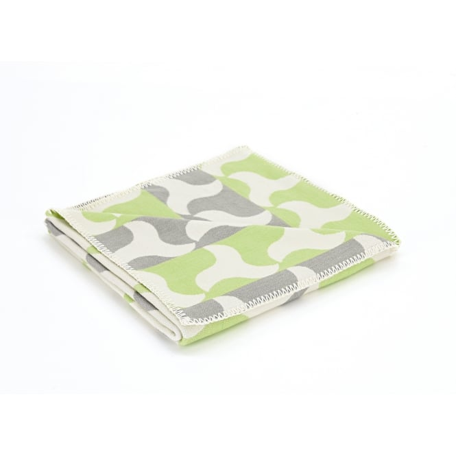 Tweedmill Organic Cotton Reversible Throw - Windmill Green