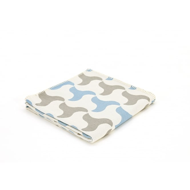 Tweedmill Organic Cotton Reversible Throw - Windmill Pale Blue