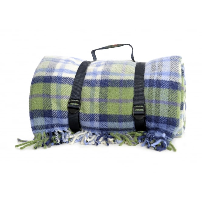 Tweedmill Polo Picnic Rug with Waterproof Backing - Blue Summer Check/Navy