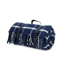 Polo Picnic Rug with Waterproof Backing - Chequered Check Navy