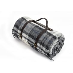 Polo Picnic Rug with Waterproof Backing & Leather Straps - Cottage Grey/Black