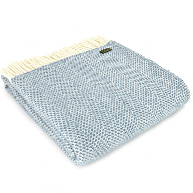 Tweedmill Pure New Wool Beehive Throw - Petrol Blue