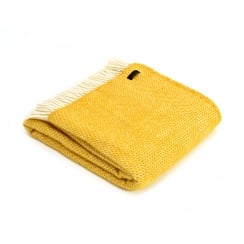 Pure New Wool Beehive Throw - Yellow